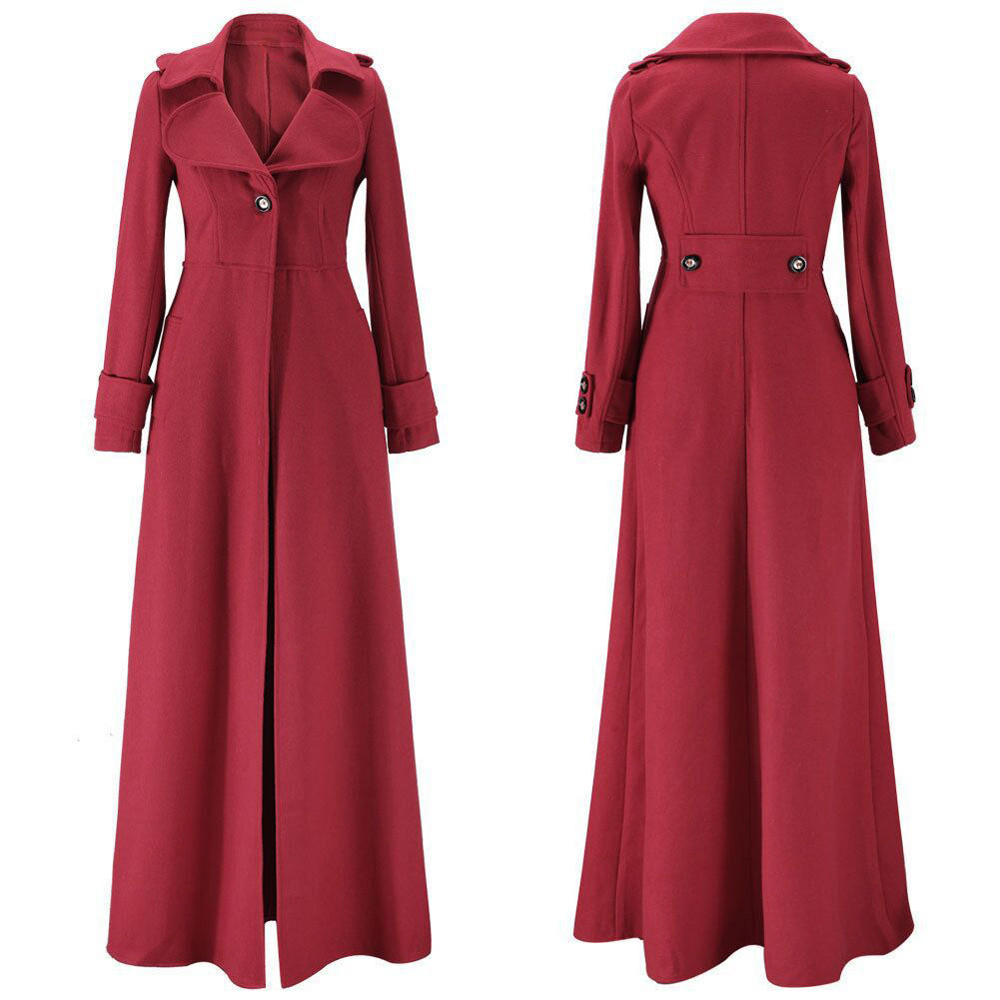 Oversized S-2XL Women's Long Trench Coats Autumn Winter Thick Long Sleeve Windbreaker Cardigan Overcoats Outwear 2021