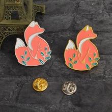 Fashion cartoon animal brooch zinc alloy fox enamel pin cute woodland fox badge emblem lapel brooch fox enamel jewelry gift zinc alloy artificial diamond crown pin brooch silver