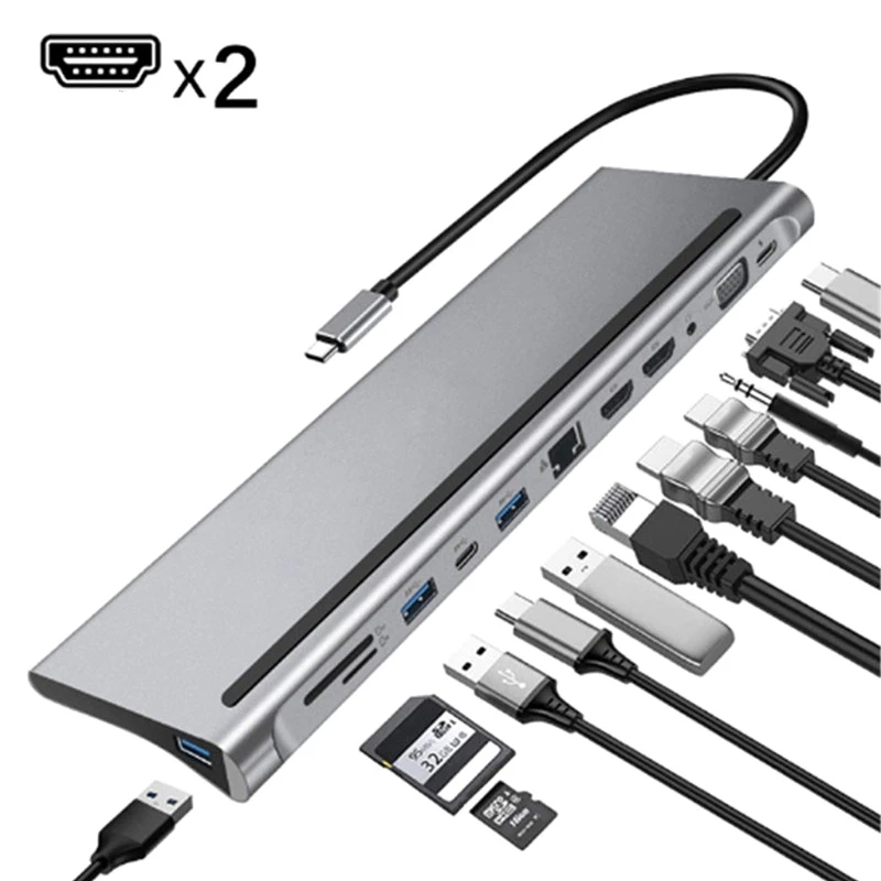 12 In 1 HUB HDMI Adapter USB C To USB 3.0 Dock For MacBook Pro Accessories USB-C Type C 3.1 Splitter With Switch For PC Notebook
