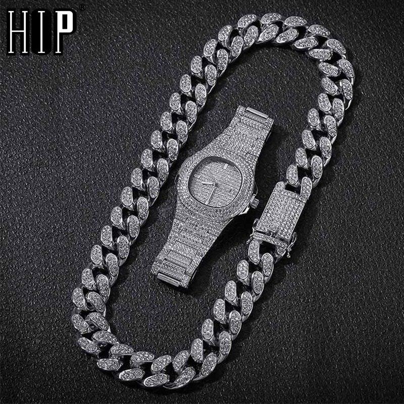 Collier Hip Hop + Bracelet + montre 1 ensemble Miami chaîne cubaine glacé strass pavé CZ Bling rappeur colliers pour hommes bijoux