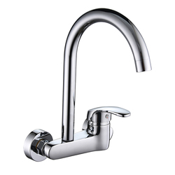 SHAI Wall Mounted Kitchen Faucet Hot & Cold Water Mixer 360 Degree Rotation Brass Basin Faucets Ceramic Plate Spool Water Tap