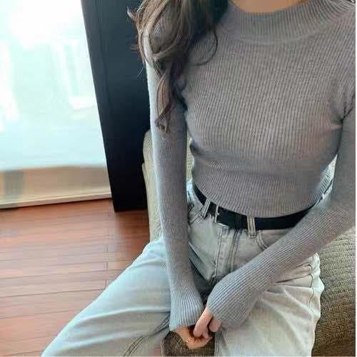 Women Sweaters Autumn Winter Turtleneck Long Sleeve Stretch Blue Knitted Pullovers Fashion Femme Soft Thin Jumper Tops 10 Colors 10