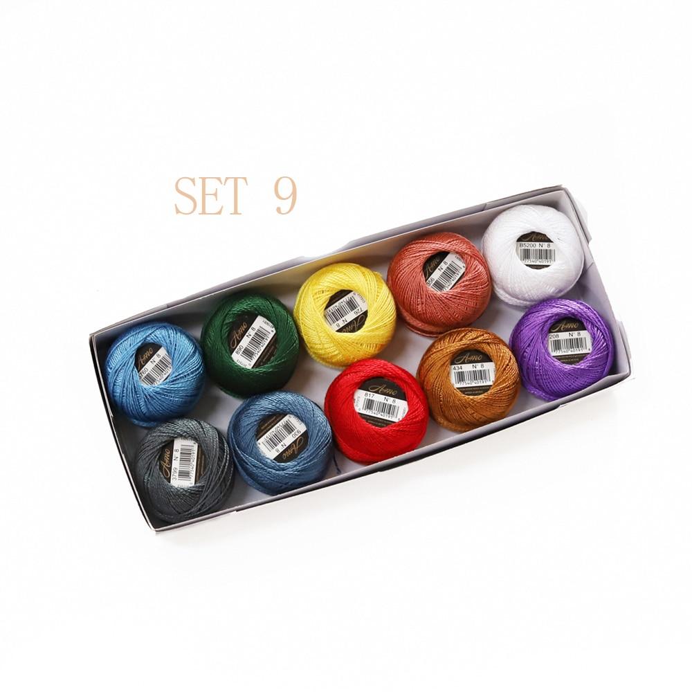 5 граммов размер, 8 жемчужных хлопковых нитей для вышивки крестиком, 43 ярдов на шарик, Двойной Мерсеризованный длинный штапельный хлопок, 10 шт./col - Цвет: SET 9