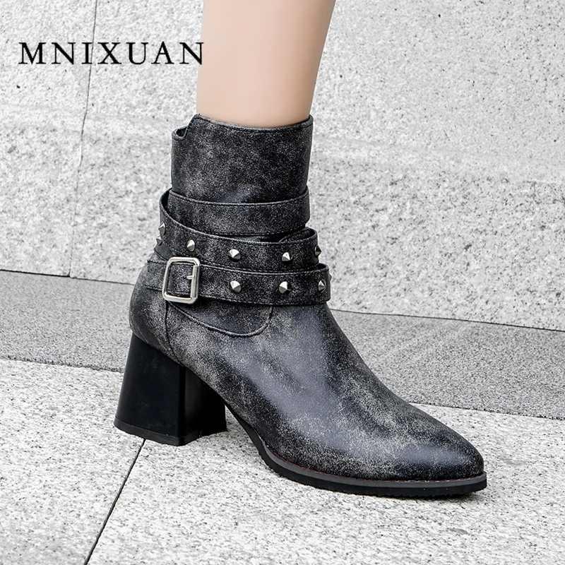 2019 แฟชั่นฤดูใบไม้ร่วงฤดูหนาวบล็อกรองเท้าส้นสูงรองเท้าข้อเท้าสั้นสำหรับเข็มขัดผู้หญิง rivet zipper lady รองเท้าหนังใหญ่ขนาด 10