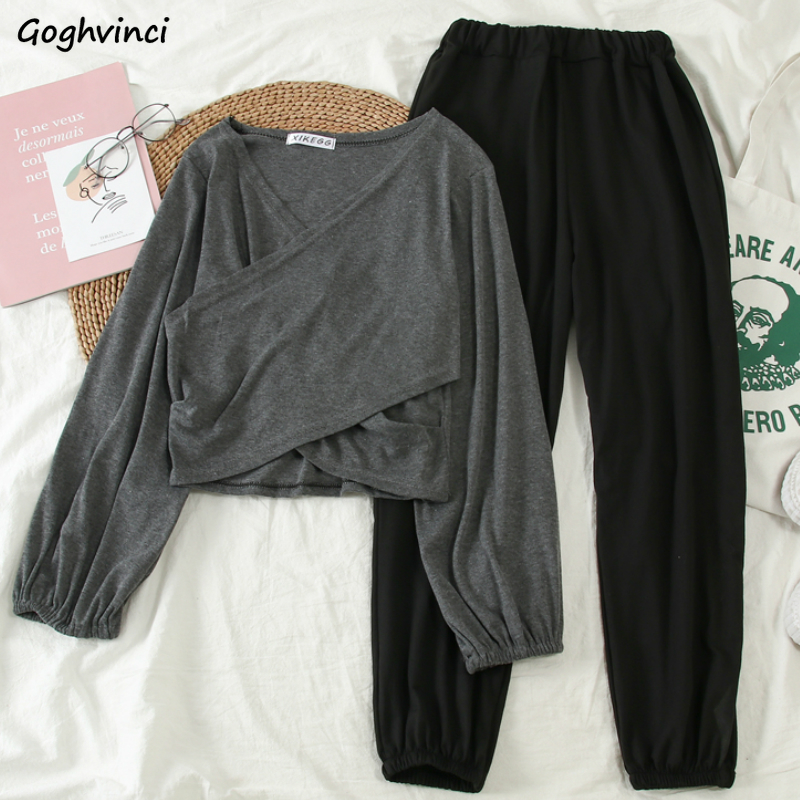 Women Sets Long Sleeve V-neck Breathable Chic Clothes Bundle Elastic Waist Solid Trousers Womens Ulzzang Joggers Outfits 2 Pecs