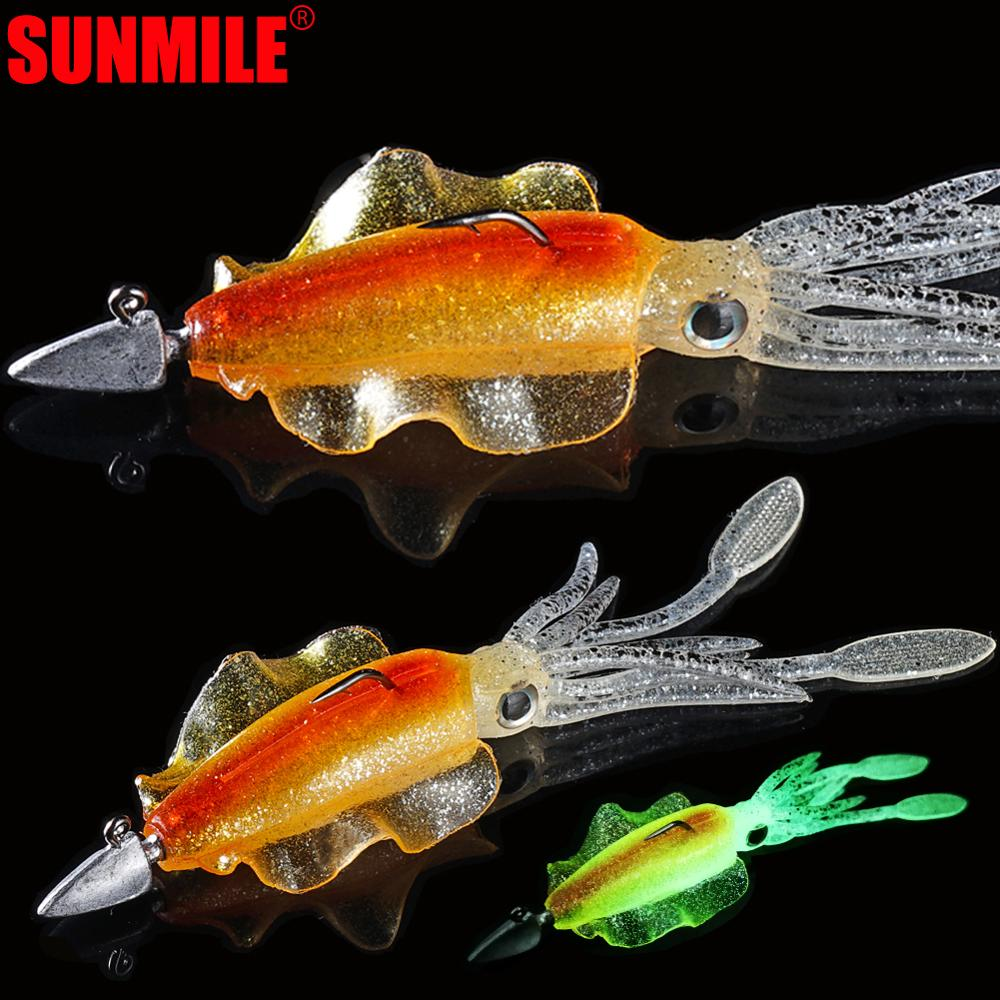 SUNMIL Squid Fishing Lure 10cm 15cm Luminous UV Squid Jig With Jig Hook Octopus Calamar Wobbler Bait For Bass Pike Lure in Fishing Lures from Sports Entertainment