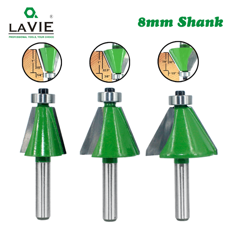 LAVIE 3pcs Set 8mm Shank Chamfer Router Bits 15  22.5 30 Degree Milling Cutter For Wood Woodorking Bit Machine Tools MC02112