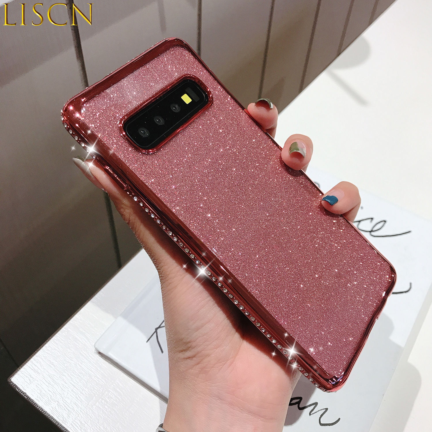 LISCN Rhinestone Glitter Plated Phone Cases for Samsung Galaxy s7 edge S8P S9P S10E Note8 9 10 10Pro Soft Case Samsung s7 8 9 10 in Half wrapped Cases from Cellphones Telecommunications