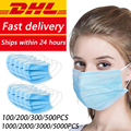 DHL Ship100/200/300/500/1000/2000/5000 Uds mascarillas faciales desechables, mascarilla protectora de seguridad para la boca, protección desechable