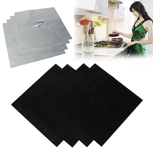 4Pcs Removable Easy Clean Square Cooker Foil Gas Hob Protector Liner Stove Protection Mat Gas Cooktop PTFE Stove Protector Mats