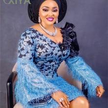 Голубое жаккардовое кружево парча ткань кружево с перьями африканские ткани нигерийский тюль сетка кружево для невесты парча кружево APW3026B