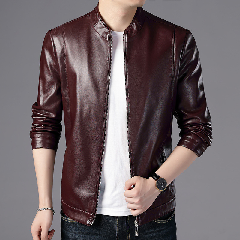 Mens Leather Jackets Motorcycle Stand Collar solid color Male PU Coats Faux Leather Fashion Outerwear slim Korean men's clothing