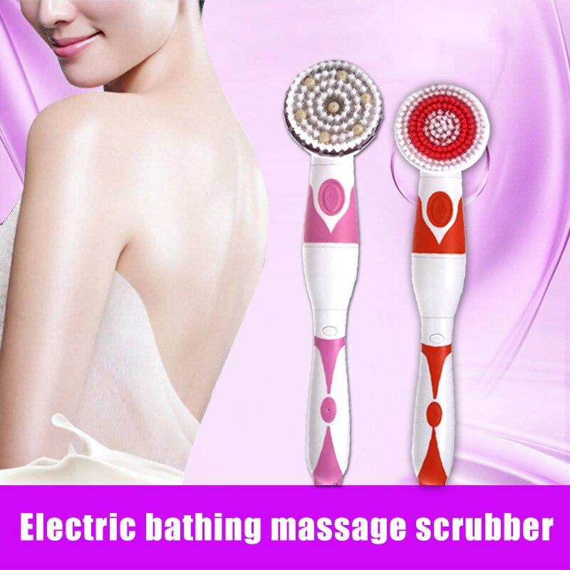Электрический ванна щетка длинная ручка вращающийся ванна тело щетки водостойкий душ щетка приспособления с 4 щетка насадки глубокий очищающий