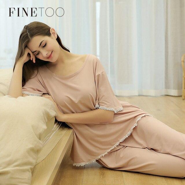 FINETOO Autumn Women Pajamas Sets Pink O Neck Homewear Large Size Girls Sleepwear Womens Pijamas Suit Home Clothes Pyjama Femme