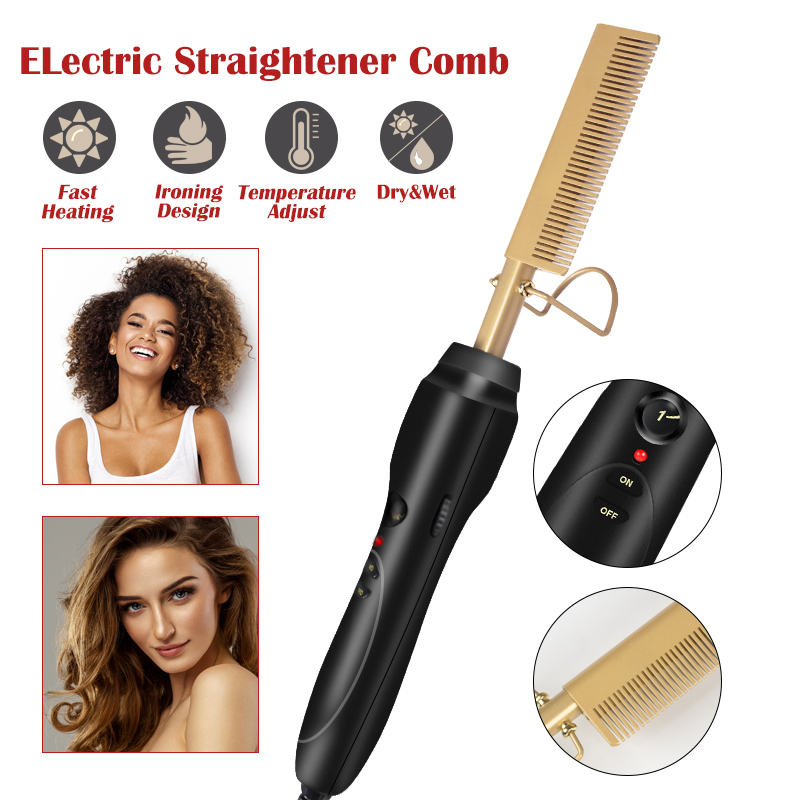 Electric Hair Straightener Copper Comb Wet And Dry Hair Brush Curler Straight Air Bread Brush Bangs Hot Comb Heating Temperature