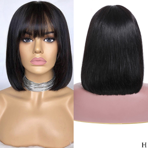 Image 2 - LUFFYHAIR Bob Cut 13X6 Lace Front Short Human Hair Wigs With Bangs Pre plucked Brazilian Remy Straight Hair For Women