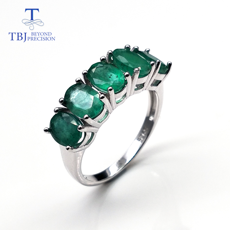 Precious Emerald Rings Natural Gemstone Oval 5*7mm In Sterling Silver 925 Simple Design Fine Jewelry For Women Special Gift