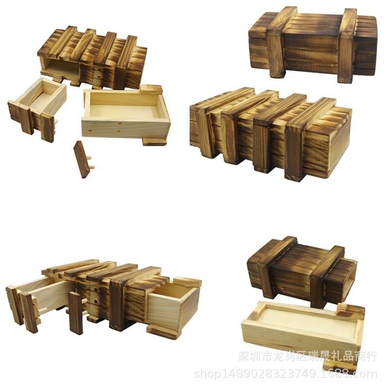 Intelligence Magic Puzzle Wooden Puzzles Secret Box Compartment Gift Brain Teaser Secret Drawer Brain Teaser Logic Magic Toys
