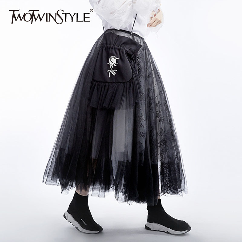 TWOTWINSTYLE Patchwork Lace Mesh Women's Skirt High Waist Hit Color Loose Large Size Midi Ball Grown Skirts Female 2020 Fashion