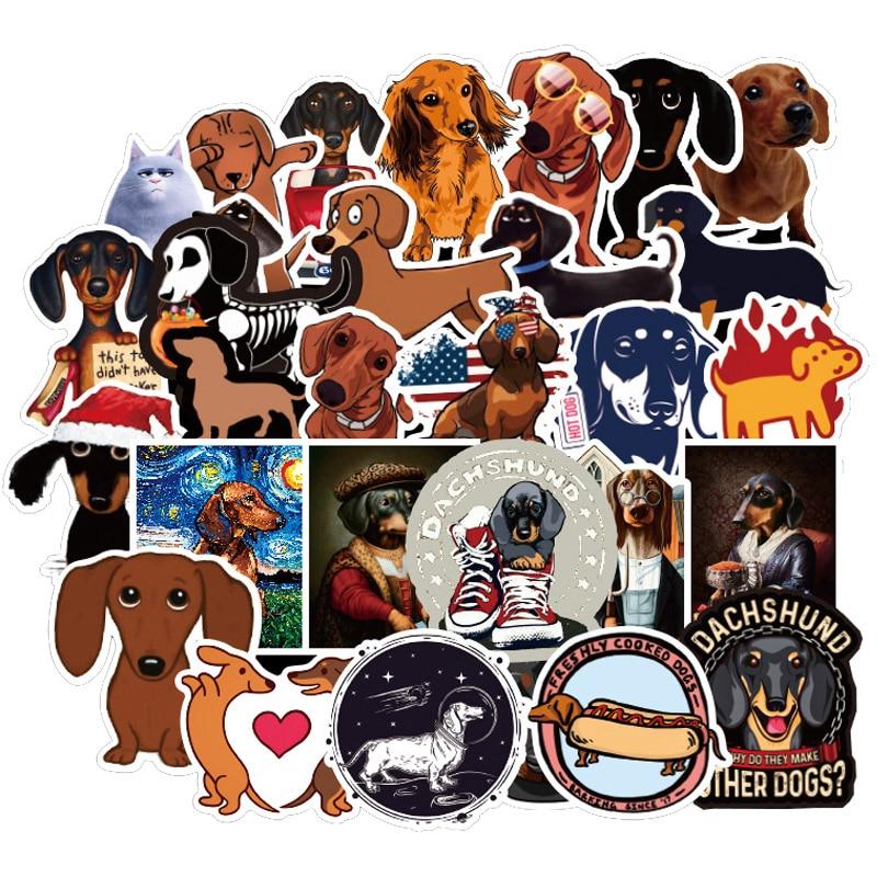 50 Pcs Dachshund Dog Stickers Funny Kawaii Sticker Laptop Skateboard Suitcase Diary Sticker Waterproof Stickers Toy For Children