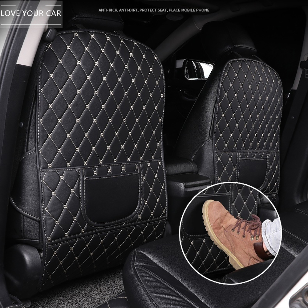 Anti-Child-Kick Pad For Car PU Leather Seat Back Protector Cover Waterproof Universal Accessories Interiors Anti Mud Dirt Pads
