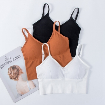 Padded Bra Sexy Womens Crop Tops Vest Bustier Beach Tank Tops Lady Summer Soft Sexy Lingerie Black White 6 Colors Intimates sexy midriff baring tops
