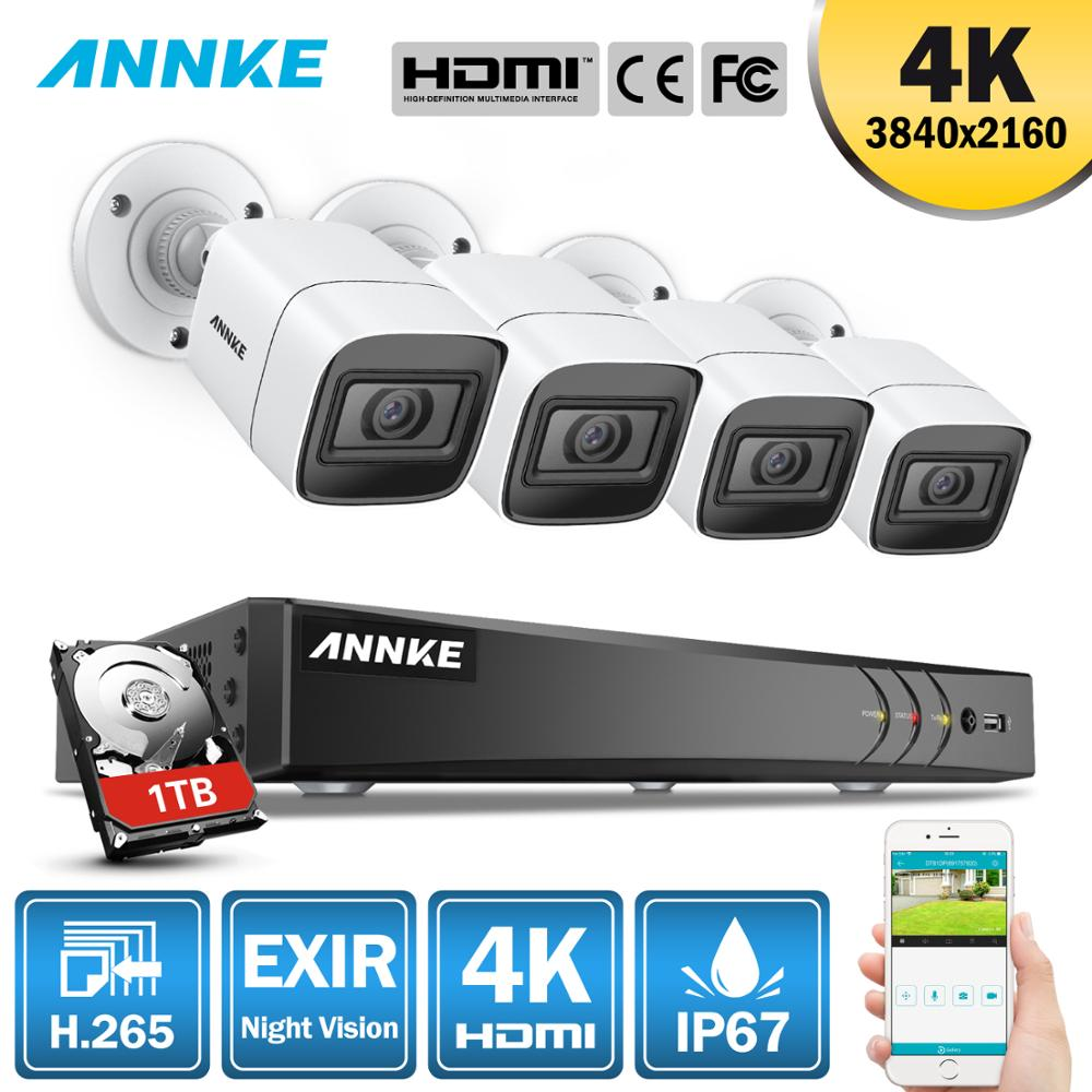 ANNKE 4K Ultra HD 8CH DVR H.265 CCTV Camera Security System 4PCS IP67 Weaterproof Outdoor 8MP Camera  Video Surveillance