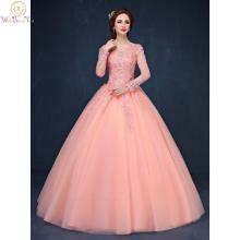 Ball-Gown Quinceanera-Dresses Beaded Pink Sweet Full-Sleeves Lace Long 15 Floor-Length