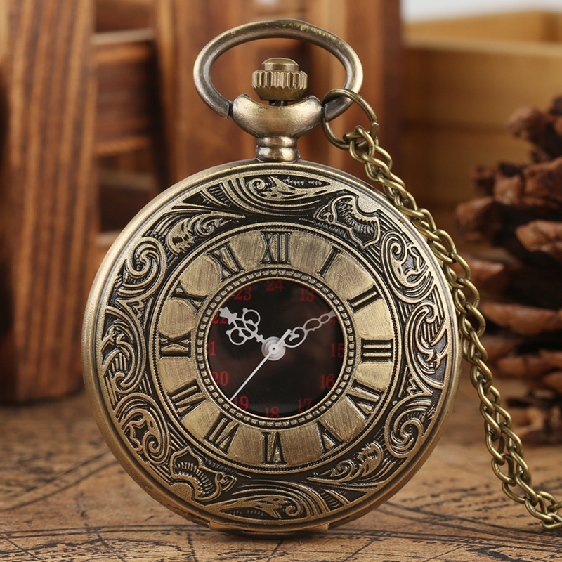 Retro Roman Numerals Dial Quartz Pocket Watch Bronze Hollow Sweater Chain Steampunk Necklace Pendant Antique Gifts For Men Women