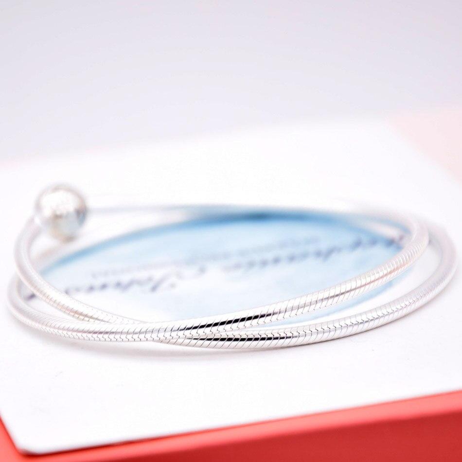 Nouveau 925 en argent Sterling collier Moments homard boule fermoir lisse serpent chaîne collier pour les femmes de mariage cadeau bijoux à bricoler soi-même - 3