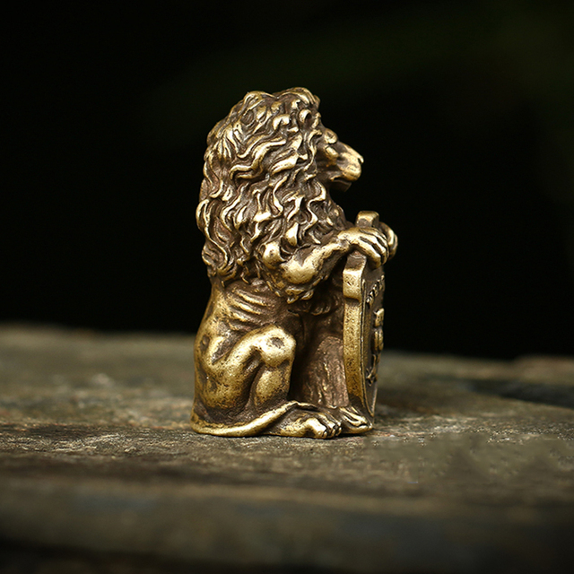 Antique Bronze Welcome Shiled Lion King Statue Home Feng Shui Decorations Lucky Copper Owl Miniature Figurines Table Ornaments 4