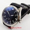 PARNIS 47mm Zwarte Wijzerplaat Mechanische Horloge 6498 Beweging Mannen Horloges Geborsteld Case