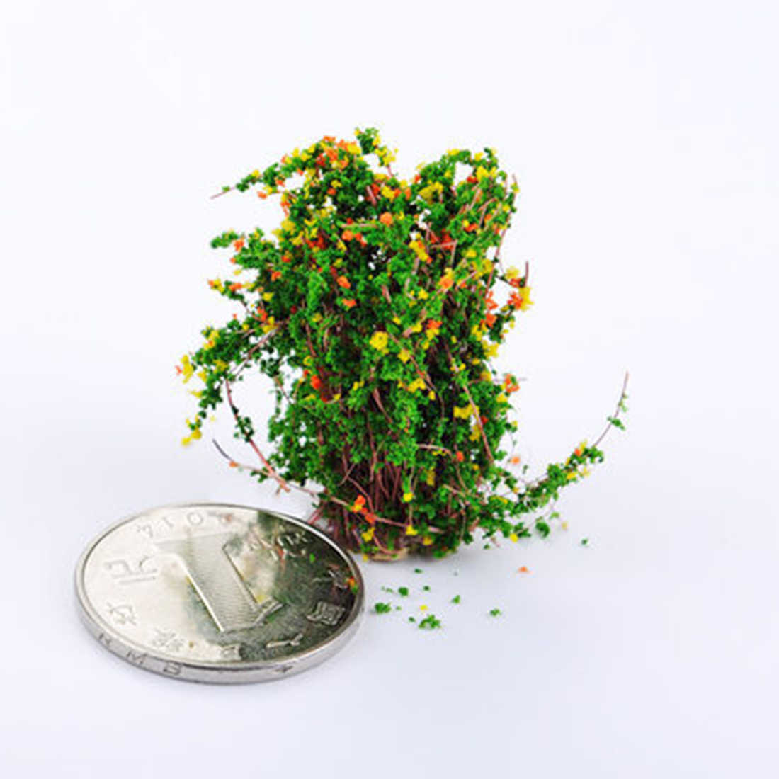 1Pc DIY Handmade Model Material Sand Table Decorative Shrub Flower Plant Flower Garland Decor - No.4 Yellow