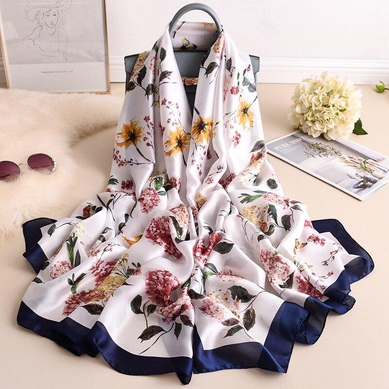 2019 new flower style Popular beach women shawl china silk fashion Autumn and winter warm   scarves     wraps   hijab lady print muffler