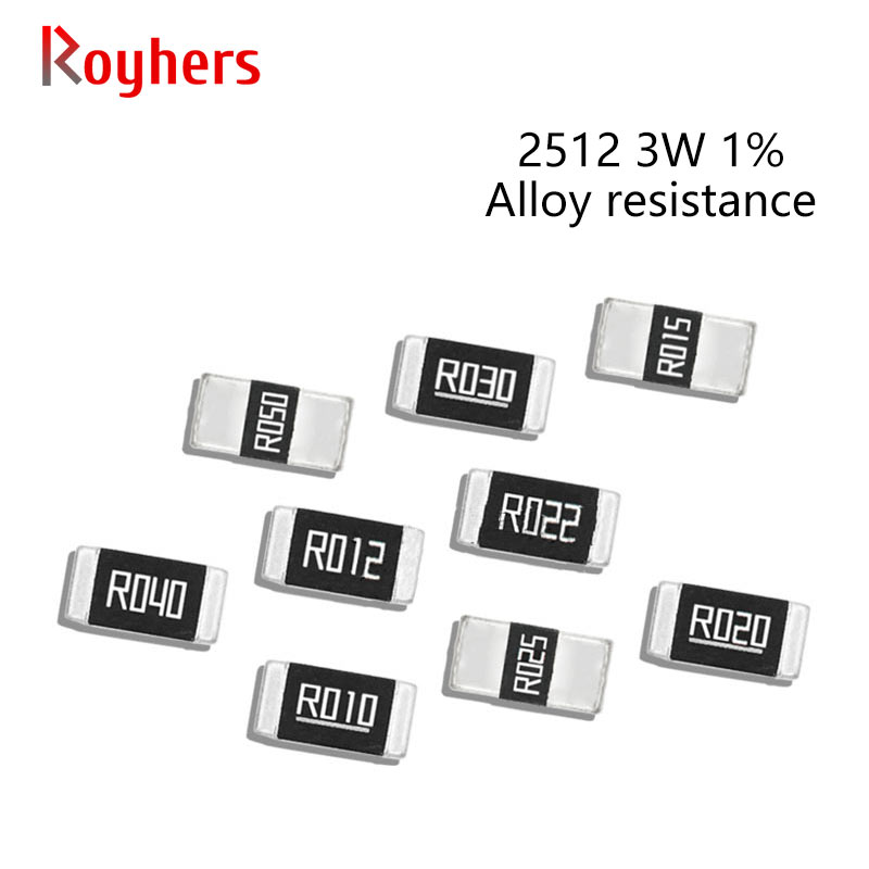 50Pcs 2512 3W SMD Legierung Widerstände Kit 1% Toleranz 0,005 R 0,018 R 0,05 R 0,075 R 0,1 R 0,18 R 0,2 Ohm Niedrigen Niederohm Chip Widerstand Sets