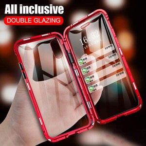 Realme 3 Pro X Lite Magnetische Case 360 Voor + Back Dubbele Gehard Glas Case Op Oppo F11 Pro A9 a9X K1 R15X Reno 2 Z Metalen Bumper