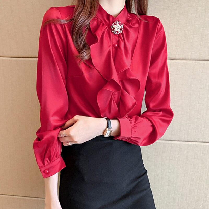 Koreanische Seide Frauen Blusen Frau Satin Rüschen Bluse Damen Silk Hemd Frau Perlen Bluse Top Plus Größe Weiß Shirts für frauen