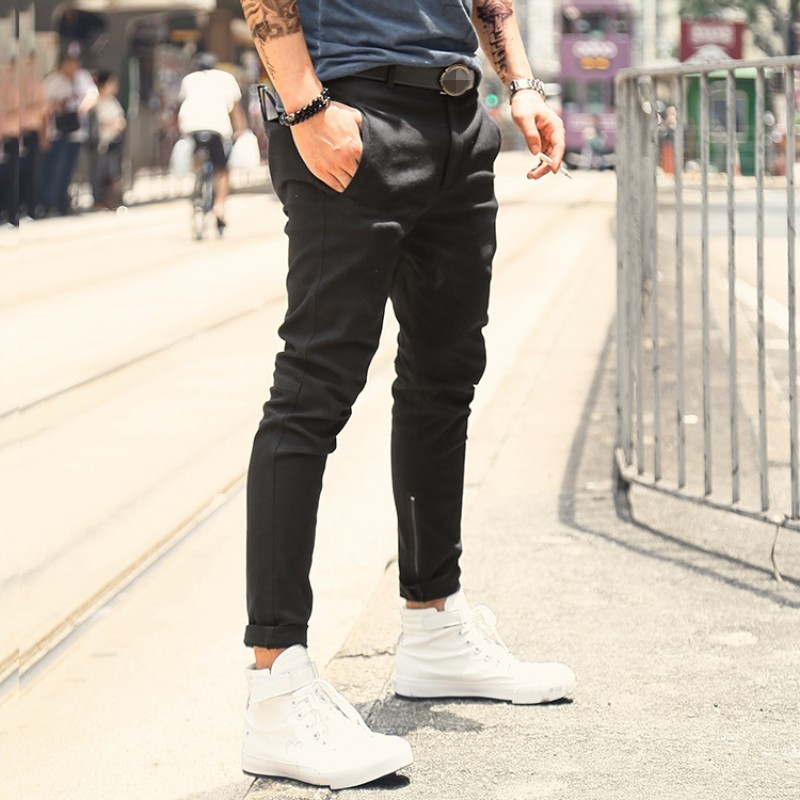 High Street Zipper Mens Slim Stretch Ankle-Length Pants Black Casual Pencil Pants 2020 New High Quality Designer Hip Hop Pants
