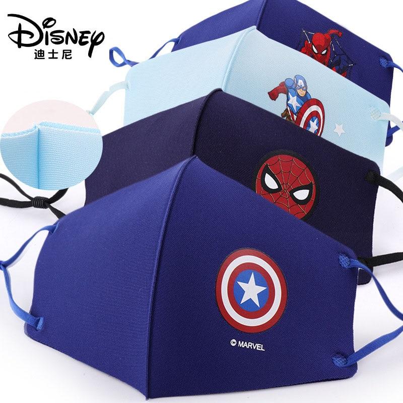 Novo!!!! Disney crianças máscaras de algodão lavável reutilizável crianças máscara facial congelado marvel spiderman criança máscara boca com filtro pm2.5 6