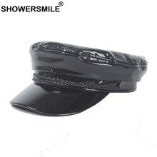 Hat Sailor-Hat Military-Caps British-Captain Black Women Patent SHOWERSMILE Adjustable