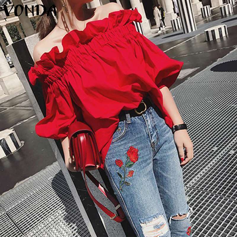 Bohemian Tunic Off Shoulder Blouse Women Ruffle Sleeve Tops Beach Shirts VONDA 2020 Summer Tops Plus Size Blusas Femininas
