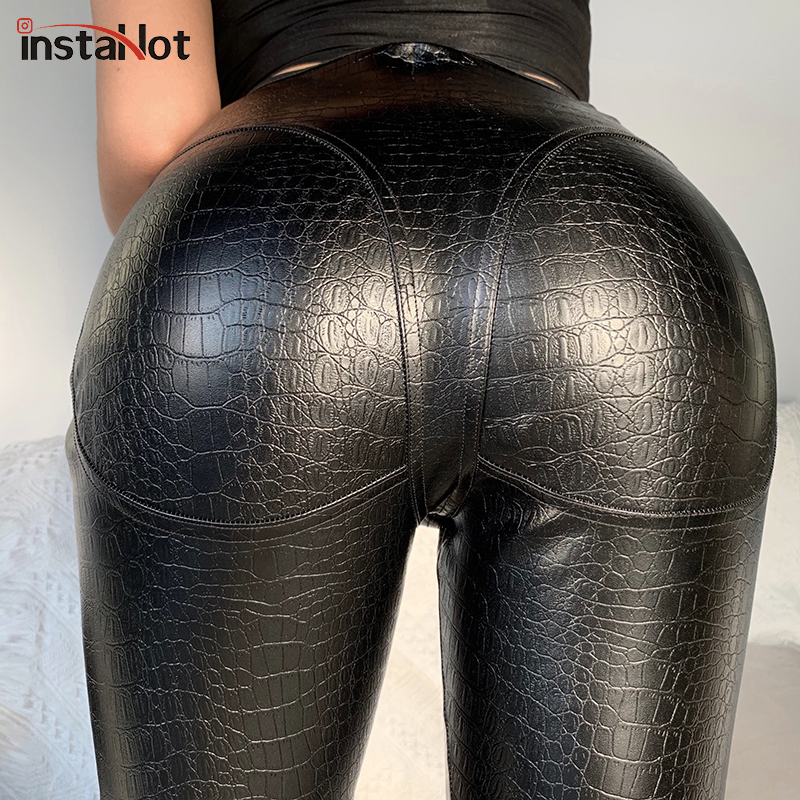 Sexy New Faux Crocodile Leather Legging Pants Black Skinny Zipper Sexy Animal Print Trousers Autumn Casual Streetwear Capris