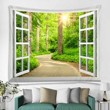 цена на WOSTAR Hot sell Forest Avenue Outside The Window Printed Tapestry Decorative Mandala Tapestry Indian Home Decor wall tapestry
