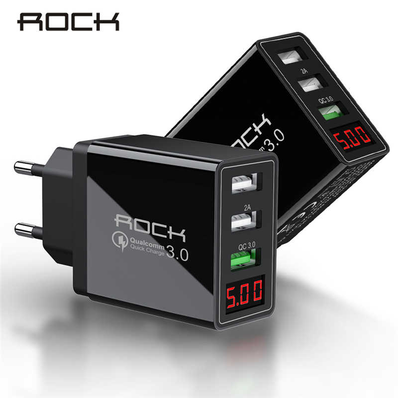 Rock Led Display Qc 3.0 3A 3 Usb Telefoon Oplader Snel Opladen Voor Iphone Xiaomi Samsung Snelle Eu Muur Adapter turbo