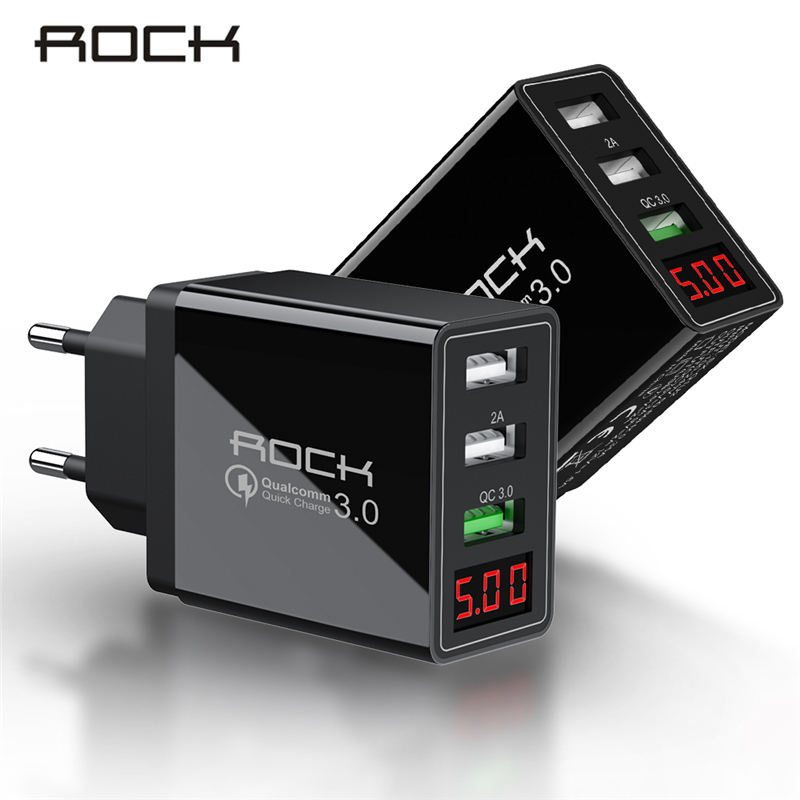 ROCK LED Display QC 3.0 3A 3 USB Phone Charger Fast Charging For iPhone Xiaomi Samsung Fast EU Wall Adapter Turbo(China)
