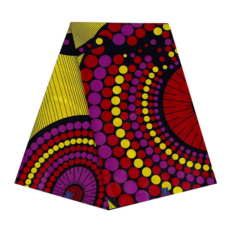 2019 Latest Arrivals 100% Cotton Yellow Circular Pattern Print Fabric Pagnes Africain