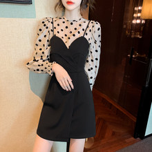 Two-piece Sling Dress 2021 Spring New Long-sleeved Wave Point Fashion Top + Black Splicing Suspender Short Dress Female Suit