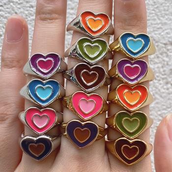 Nowy Ins kreatywny śliczne kolorowe podwójna warstwa miłość pierścień z sercem Vintage Drop Oil metalowy pierścień z sercem s dla kobiet dziewczyn biżuteria tanie i dobre opinie HAIMAITONG CN (pochodzenie) Ze stopu cynku Kobiety Śliczne Romantyczne Zestawy ślubne Zgodna ze wszystkimi Poprawiające nastrój