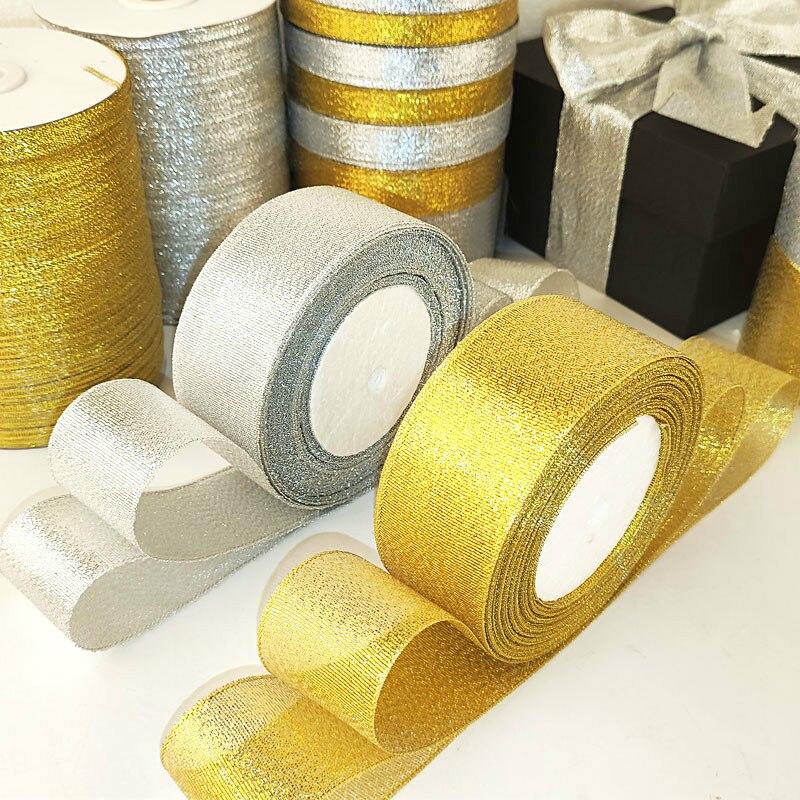 22 метерсролл золотого и серебряного цвета Блестящая атласная лента для рукоделия Свадебные Декоративные DIY ленты из органзы с луком бант Рождественский подарок поставки|Ленты|   | АлиЭкспресс