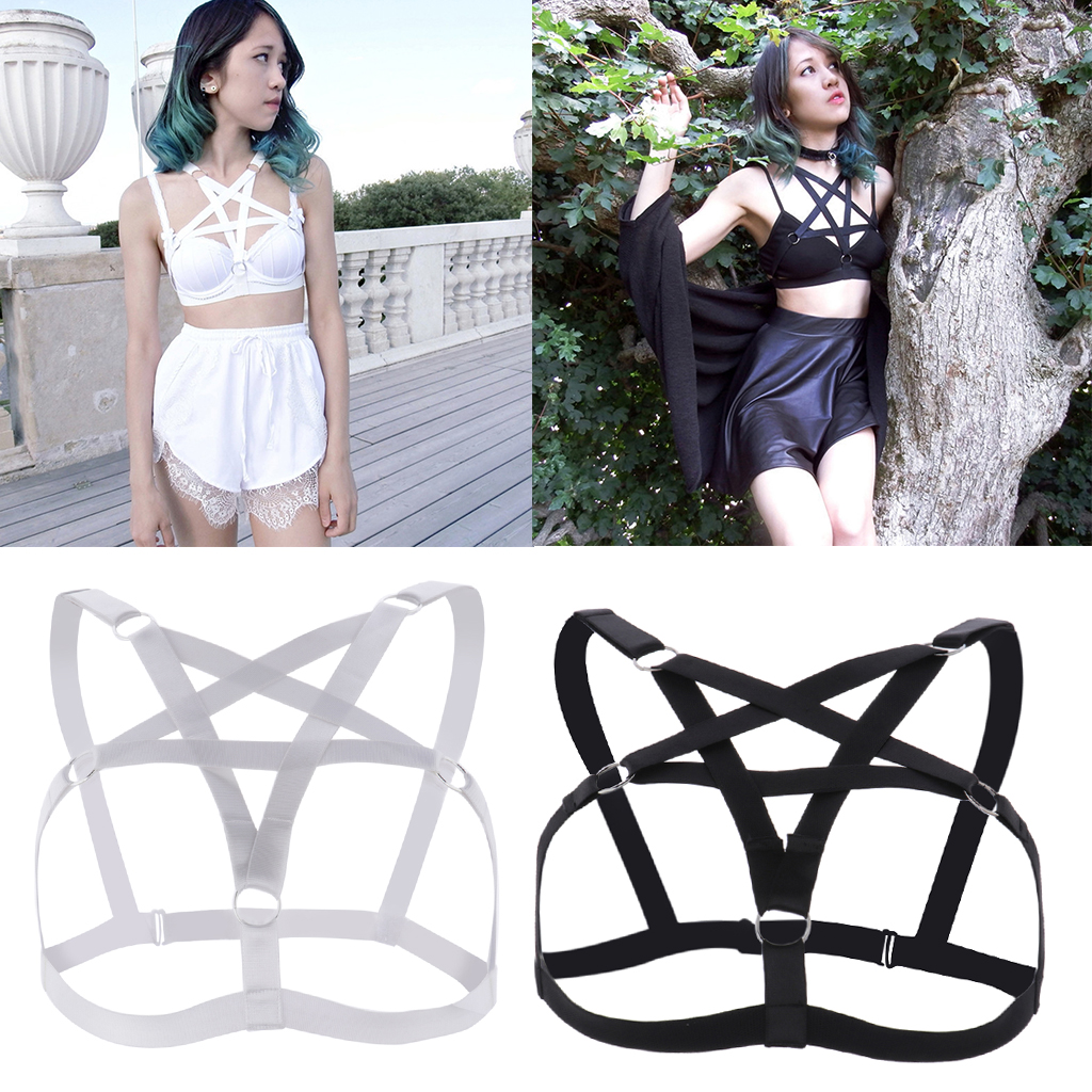 Women Girls Sexy Goth Pentagram Lingerie Hollow Strappy Harness Cage Bra Cupless Body Chain Belt Gothic Sexy Costume